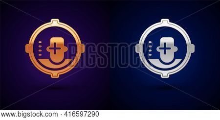 Gold And Silver Headshot Icon Isolated On Black Background. Sniper And Marksman Is Shooting On The H