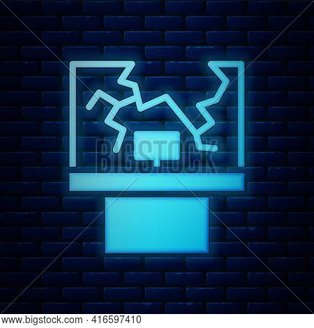 Glowing Neon Broken Window Icon Isolated On Brick Wall Background. Damaged Window. Beaten Windowpane