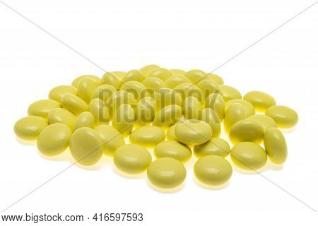 Medicament Valerian Pills Isolated On White Background