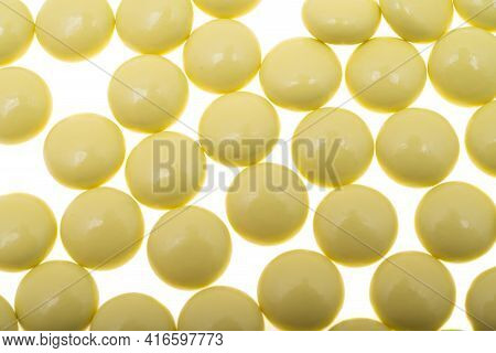 Valerian Pills Medicament Isolated On White Background