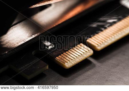 Pci Express Gpu Connection Pins, Close-up Photo With Selective Focus