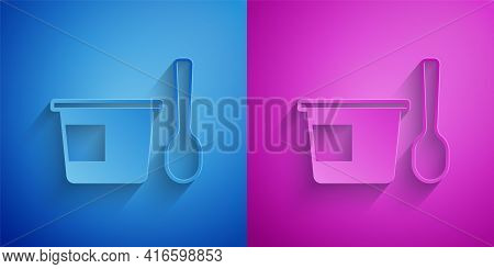 Paper Cut Yogurt Container With Spoon Icon Isolated On Blue And Purple Background. Yogurt In Plastic