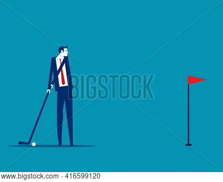 Business People Hit The Golf Ball Into The Hole