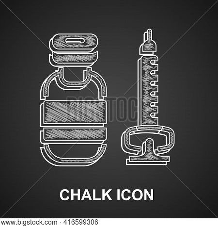 Chalk Medical Syringe With Needle Icon Isolated On Black Background. Vaccination, Injection, Vaccine