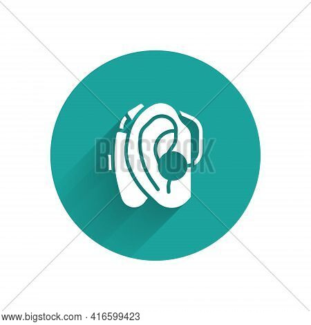 White Hearing Aid Icon Isolated With Long Shadow. Hearing And Ear. Green Circle Button. Vector