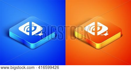 Isometric Blindness Icon Isolated On Blue And Orange Background. Blind Sign. Square Button. Vector