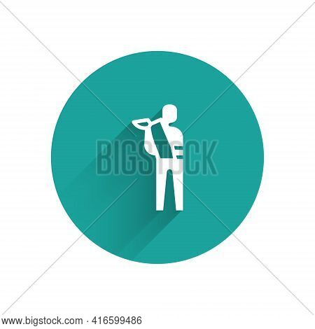 White Human Broken Arm Icon Isolated With Long Shadow. Injured Man In Bandage. Green Circle Button.