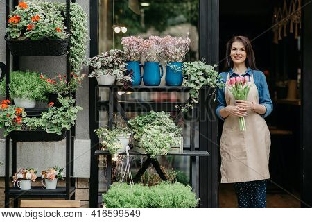 Woman Florist Reopening Shop After Covid-19 Pandemic, Delivery Service For Clients