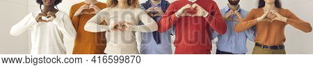 Banner With Group Of People Doing Heart Shape Hand Gesture Showing Love And Gratitude