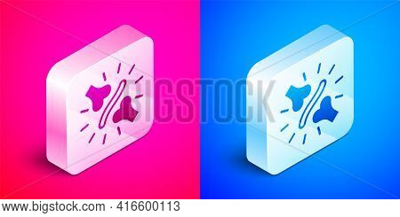 Isometric Joint Pain, Knee Pain Icon Isolated On Pink And Blue Background. Orthopedic Medical. Disea