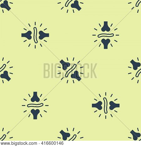 Blue Joint Pain, Knee Pain Icon Isolated Seamless Pattern On Yellow Background. Orthopedic Medical.