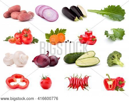 Vegetables collection isolated over white background. Set of different fresh raw veggies. Food ingredient. Healthy food concept.