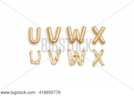 Inflated, Deflated Gold U V W X Letters, Balloon Font, 3d Rendering. Empty Foil Or Mylar Typeset For
