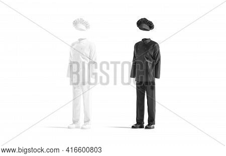 Blank Black And White Chef Uniform Mockup Set, Side View, 3d Rendering. Empty Protective Clothing Fo