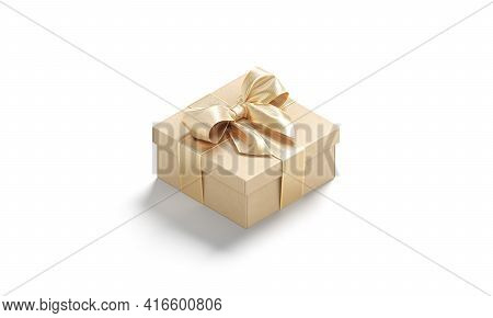 Blank Gold Gift Box With Ribbon Bow Mockup, Side View, 3d Rendering. Empty Square Mistery Packaging