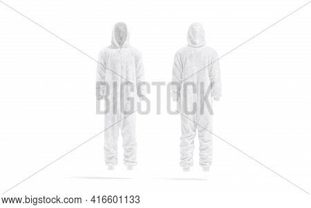 Blank White Plush Jumpsuit With Hood Mockup, Front And Back, 3d Rendering. Empty Warm Hooded Apparel