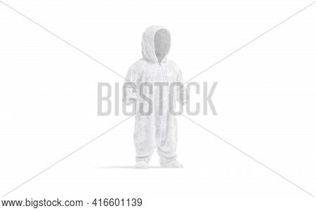 Blank White Kid Plush Jumpsuit With Hood Mockup, Side View, 3d Rendering. Empty Pajamas Suit For Chi