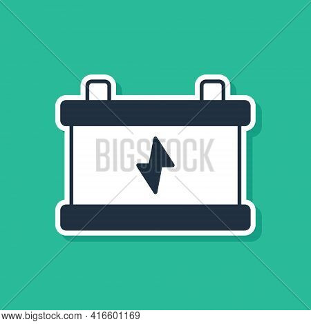 Blue Car Battery Icon Isolated On Green Background. Accumulator Battery Energy Power And Electricity