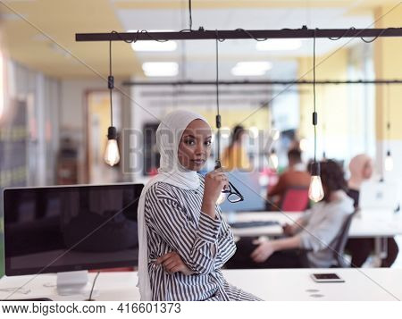 African muslim businesswoman portrait at office