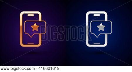 Gold And Silver Mobile Phone With Review Rating Icon Isolated On Black Background. Concept Of Testim