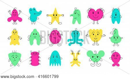 5 Cute Monster Faces. Funny And Scary Cartoon Minimalistic Monsters With Cheerful Face Emotions. Vec