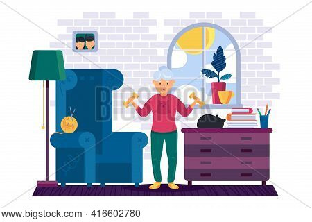Grandma Workout With Dumbbells At Home Vector
