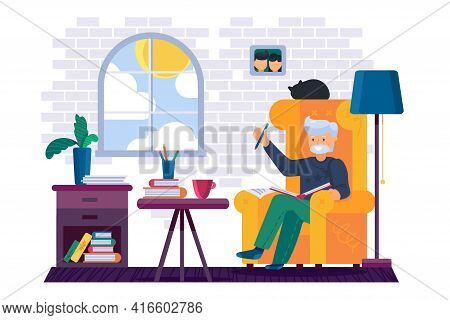 Grandpa Writing In Notebook With Pencil Vector
