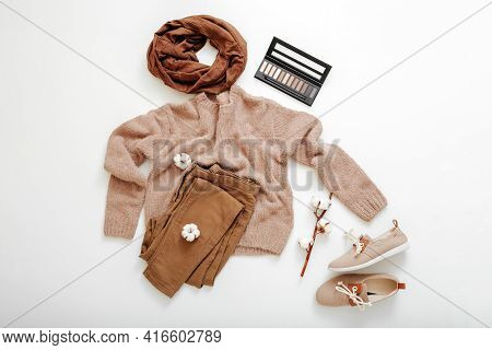 Fashion Basic Female Clothes Shoes Set Beige Brown Colors Knitted Sweater Scarf And Cotton Flowers C