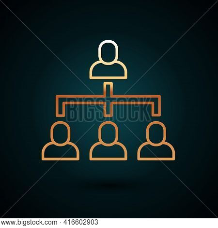 Gold Line Business Hierarchy Organogram Chart Infographics Icon Isolated On Dark Blue Background. Co