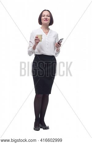 successful business woman with takeaway coffee. isolated on a white background.