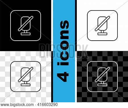 Set Line Mute Microphone Icon Isolated On Black And White, Transparent Background. Microphone Audio