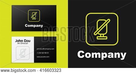 Logotype Line Mute Microphone Icon Isolated On Black Background. Microphone Audio Muted. Logo Design