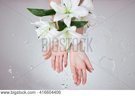 Beauty Hands With Lily Flowers Lie On Table, Woman Beauty Hands On Wet Flower Mirror Moistening. Nat