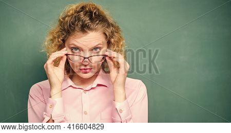 Back To School. Empty Blackboard. Formal Informal And Nonformal Education. New School Year. Girl Pre