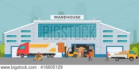 Warehouse Out Side. Big Warehouse And Transportation Beside. Boxes On Pallet Shelves People Loaders