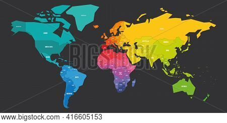 Colorful World Map In Colors Of Rainbow Spectrum. Each Sovereign Country In Different Color. Simple