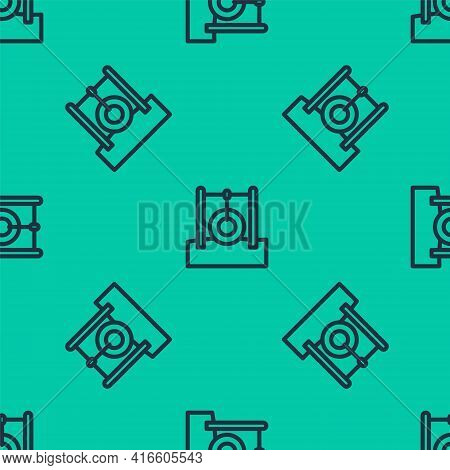 Blue Line Car Tire Hanging On Rope Icon Isolated Seamless Pattern On Green Background. Playground Eq