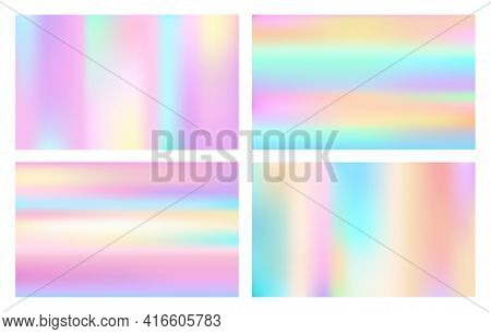 Cosmic Style Hologram Backgrounds. Fashion Abstract Holographic Patterns, Colored Neon Textures, Col