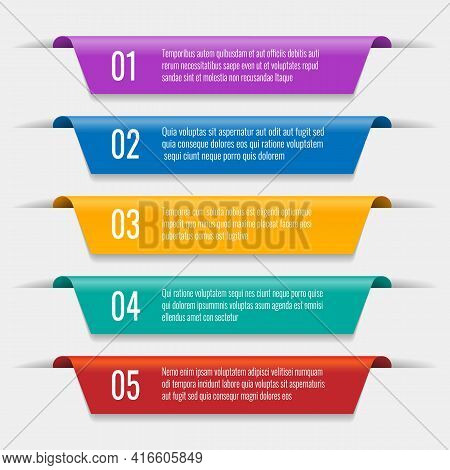 Tabs Banners Elements. Colorful Tab Design, Vector Option Ribbons Template, Color Market Labels And