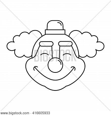 Happy Circus Clown Sign. Jester Outline Vector Icon For Web Design Isolated On White Background. Jok