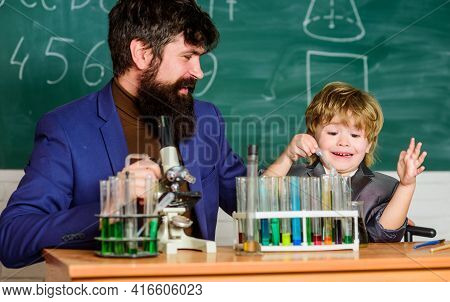 Personal Example. Knowledge Day. Chemical Experiment. Study Chemistry Together. Following Father In