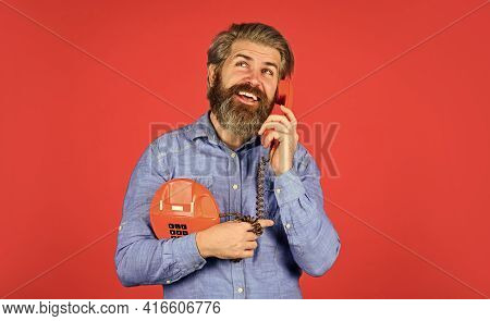 Give Your Brand The Due Attention. Young Man Talking On Telephone. Senior Hipster Old Telephone. Bru