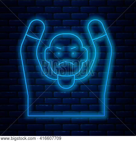 Glowing Neon Line Thief Surrendering Hands Up Icon Isolated On Brick Wall Background. Man Surrenderi