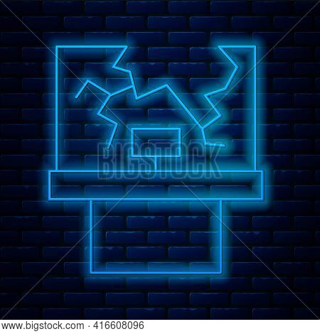 Glowing Neon Line Broken Window Icon Isolated On Brick Wall Background. Damaged Window. Beaten Windo