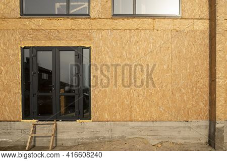 Close Up Of Construction Of A Town Houses From Sip Panels.