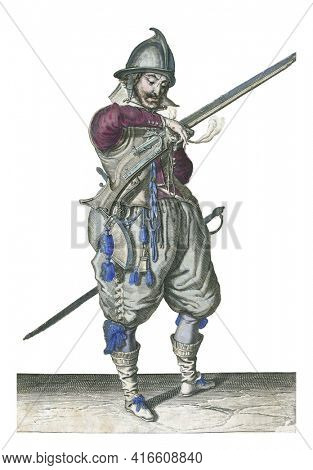 A soldier on guard, full-length , to the right, holding a rudder (a type of firearm) with his left hand, vintage engraving.
