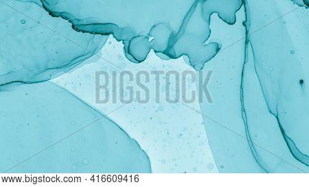 Pastel Flow Liquid. Blue Cloud Fashion Abstraction. Teal Pastel Fluid Liquid. Blue Sea Gradient Abst