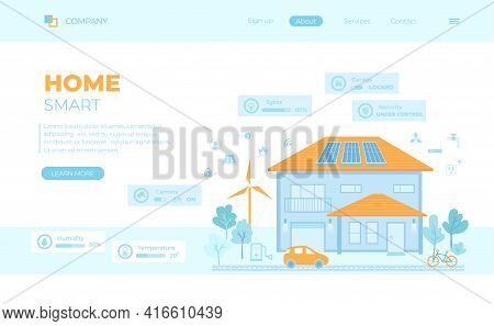 Smart Modern Eco House With Central Technology Control System. Infographic Automation Concept. Secur