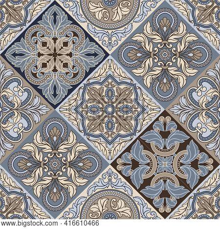Portuguese Azulejo Ceramic Tile Seamless Pattern. Mediterranean Traditional Ornament.
