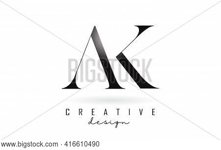 Ak A K Letter Design Logo Logotype Concept With Serif Font And Elegant Style. Vector Illustration Ic